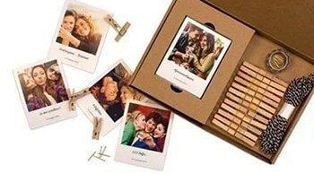 polaroid kit vintage con foto mollette e spago per appenderle
